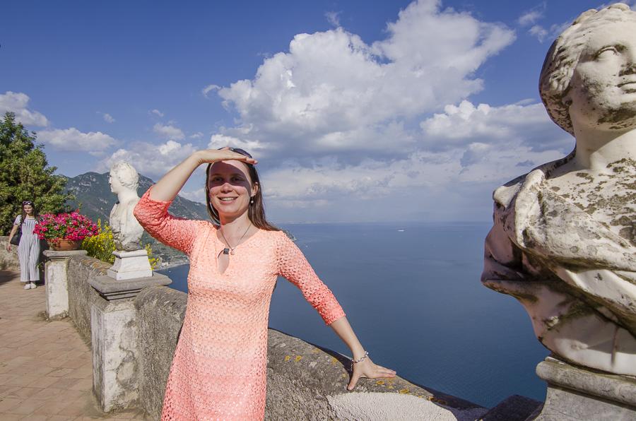 Terasse der Villa Cimbrone bekannt aus Teil 3 der Sissi Verfilmungen mit Romy Schneider - Entspanntes reisen mit Multipler Sklerose