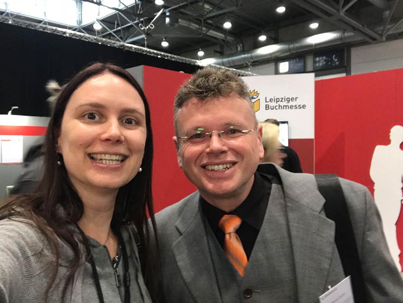 Nele Handwerker & Wolfgang Tischer vom Literaturcafe auf der Leipziger Buchmesse 2018