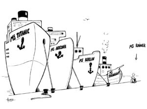 """Karikatur """"MS Rainer"""" von Phil Hubbe"""