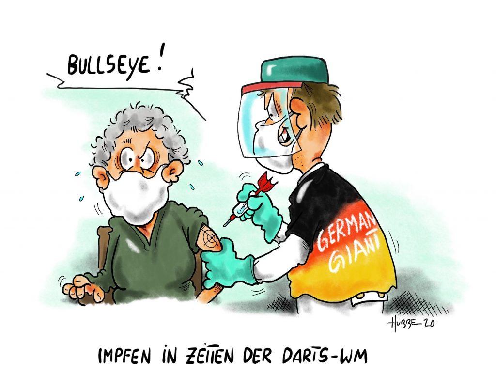 Karikatur von Phil Hubbe vom 29.12.2020 zur Corona-Impfung