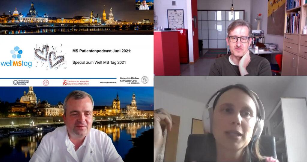 Fotocollage vom MS-Patientenpodcast des MS-Zentrums in Dresden mit Phil Hubbe, Prof. Ziemssen und Nele Haandwerker