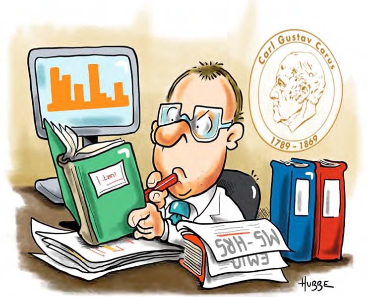 Karikatur von Phil Hubbe zur E-Health Gesundheitsökonomie aus der Broschüre vom MS-Zentrum zum Welt-MS-Tag 2021