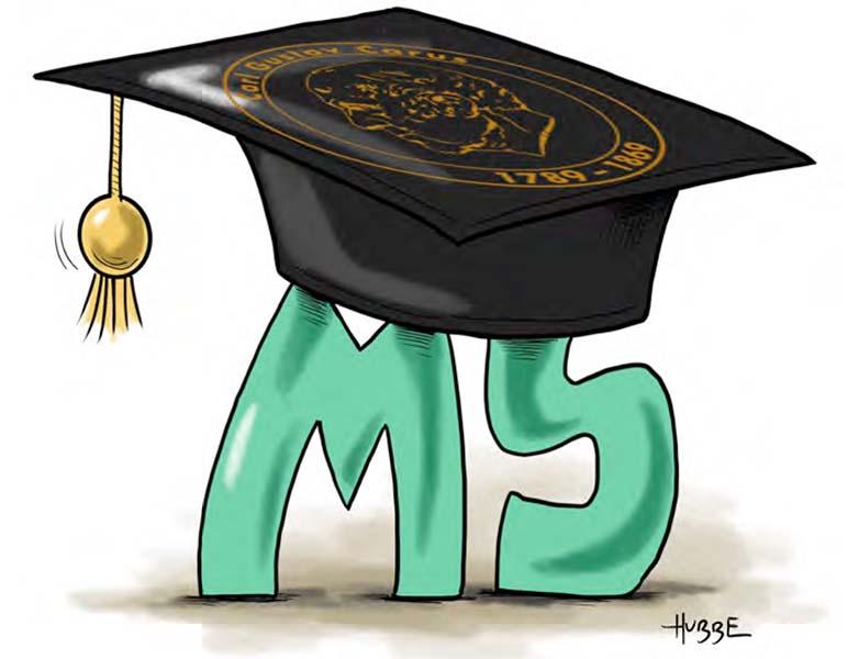 Karikatur von Phil Hubbe zum MS-Studiengang aus der Broschüre vom MS-Zentrum zum Welt-MS-Tag 2021