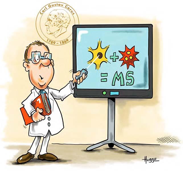 Karikatur von Phil Hubbe zur Patientenfortbildung aus der Broschüre vom MS-Zentrum zum Welt-MS-Tag 2021