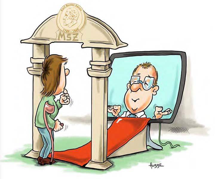 Karikatur von Phil Hubbe zum digitalen Patientenportal aus der Broschüre vom MS-Zentrum zum Welt-MS-Tag 2021